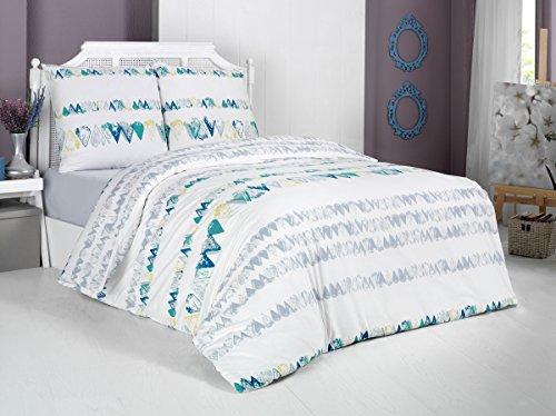 Bettwäsche Set 2 TLG. Baumwolle Renforcé Reißverschluss, 135x200 cm, Weiß, Maritim