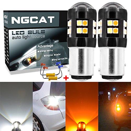 ngcat 26500K 1157BAY15D 1016103475281200Lumen Dual Farbe Weiß/Bernstein Canbus Fehlerfrei Lichtband Turn Signal Light LED Leuchtmittel-Leuchtmittel 303024Lens LED Licht Lampe mit 50W 8Ohm-Belastung Widerstände (Für Led-brems-lichter Lkws)