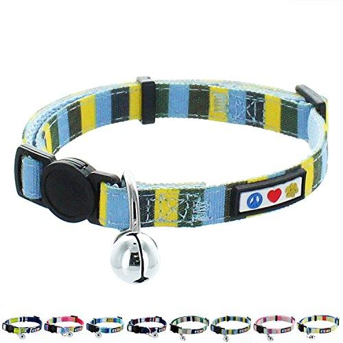 s Haustier- und Katzenhalsband mit Sicherheitsschnalle and Abnehmbarer Glocke Katzenhalsband Kätzchenhalsband Blau/Gelb / Grün Katzenhalsband ()