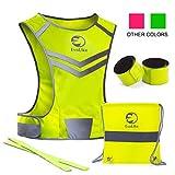 EvoLike Premium Warnweste im einzigartigen Design; für Laufen, Spazieren, Radfahren, Joggen, Motorradfahren; mit Tasche + 4hochsichtbaren Armbändern, gelb, S/M