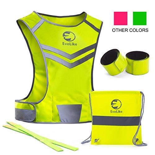 EvoLike Premium Warnweste im einzigartigen Design; für Laufen, Spazieren, Radfahren, Joggen, Motorradfahren; mit Tasche + 4hochsichtbaren Armbändern, gelb, XS/Kids