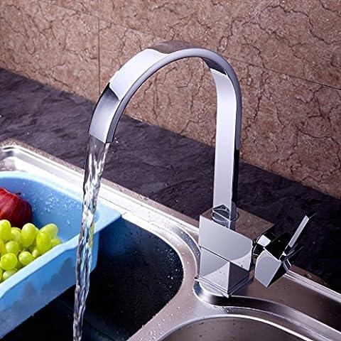 Auralum® Zeitgenössig 360° Drehbar Küchenarmatur Mischbatterie für Kalt und Heißwasser Einhebelmischer Armatur Wasserhahn Waschtisch für Waschbecken Spüle Küchen Bad