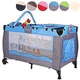 KIDUKU® Kinderreisebett Kinderbett Säuglingsbett Babybett Klappbett Reisebett für Kinder Zweitbett, mit zweiter Ebene für Kleinkinder/Säuglinge, 6 verschiedene Farben, kompakt, höhenverstellbar (Hellblau)