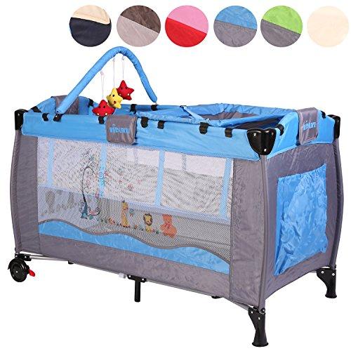 KIDUKU® Kinderreisebett Kinderbett Säuglingsbett Babybett Klappbett Reisebett für Kinder Zweitbett, mit zweiter Ebene für Kleinkinder/Säuglinge, 6 verschiedene Farben, höhenverstellbar (Hellblau)