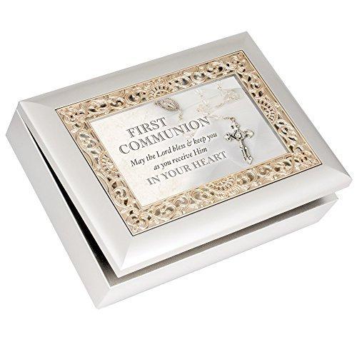 Kostüm Inspiriert Kunst Durch - First Communion Lord Bless You Silber Finish Gold Einlage Jewelry Musik Box Amazing Grace