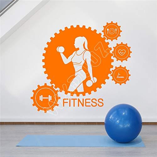 yaoxingfu Vinyl Wandtattoo Fitness Club Trainer Gym Getriebe Sport Mädchen Aufkleber Wandaufkleber Wohnkultur Poster58 x 53 cm