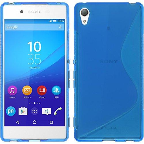 phonenatic custodia compatibile con sony xperia z3+ / plus cover blu s-style xperia z3+ / plus in silicone + pellicola protettiva