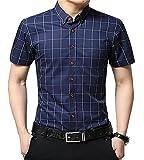 AIYINO Herren Kurzarm Hemd Slim Fit Baumwolle Casual Shirts 4 Farben zur Auswahl XS-XL (X-Large, G-Navy)