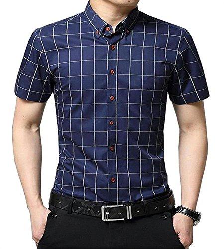 AIYINO Herren Kurzarm Hemd Slim Fit Baumwolle Casual Shirts 4 Farben zur Auswahl XS-XL (Medium, G-Navy)