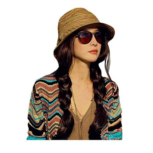 Vovotrade ❀❀Chapeau de Paille pour Femmes Couleur Rayé Plage Chapeau de Soleil Chapeau Pliable Multicolore