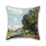 beautifulseason Oil Painting Alfred Sisley - Moret- The Banks of The River Loing, 1877 Pillow Cases 20 X 20 Inches/50 by 50 cm Best Choice for Lover,Sofa,Outdoor,Teens Girls,Seat,Kids Room with T