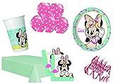 XXL Party Deko Set Minnie Mouse Flamingo Kindergeburtstag für bis 16 Personen 60 teilig rosa türkis Mädchen