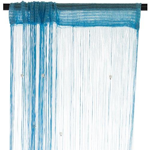 Smartfox Fadenvorhang 100 x 250 cm in Hellblau mit Perlen Fadengardine Fadenstore Vorhang Schal Faden