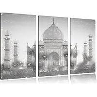 Taj Mahal immagine estate effetto disegno a carboncino 3 pezzi picture tela 120x80 su tela in, XXL enormi immagini completamente Pagina con la barella, stampe d