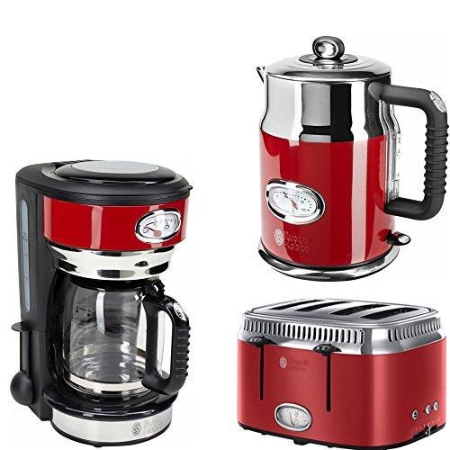 Frühstücksserie RETRO RIBBON RED Glas & 4- Scheiben Toaster Russell hobbs im modernen Retro Design 3Teile=1Preis