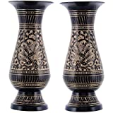 Sunshine Art & Crafts Brass Antique Look Black Golden Inlay Work Flower Pot Set Of 2 Peace 6''