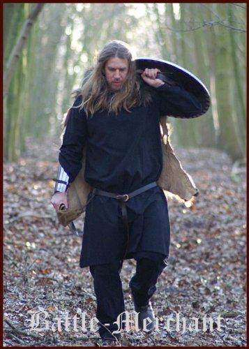 16. Jahrhundert Männer-kleidung (Mittelalterliche Tunika, schwarz von Battle-Merchant - Römer Wikinger Mittelalter LARP Größe L)