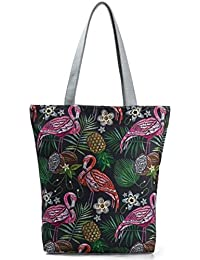 Imported&new E Embroidery Flamingo Printed Shoulder Bag Lady Colorful Canvas Tote Handbag (multicolor)