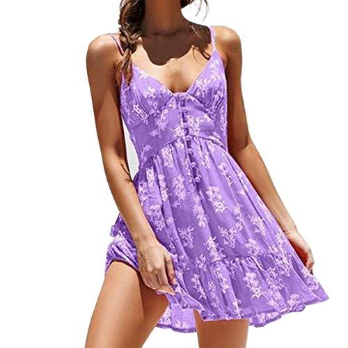 LOPILY Elegante Strandkleid Damen Blumendruck Gekräuselte Geraffte Saum Sommerkleider Partykleid Sommer Modisch V-Ausschnitt Schlinge Minikleid Kleider(Lila,EU-36/CN-S) -