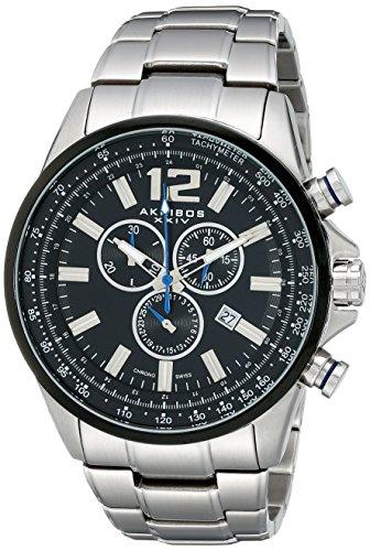 Akribos XXIV Herren Conqueror Schweizer Chronograph Schwarz Zifferblatt Edelstahl-Armband Uhr
