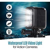 TOPTOO Luz LED Impermeable para Video Luz de Buceo 5500-6000K 300Lux Micro USB de Gran Angular 30m subacuático Carga para GoPro Hero 7 6 5 4 3+ 3 cámaras de sesión y Otras similares