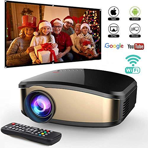 PYXZQW Beamer Projektor Wireless WiFi Video DIWUER Projektor + 50% Heller Full HD 1080P Tragbare Unterstützung Airplay Mira-cast für Heimkino-Spielfilme,A