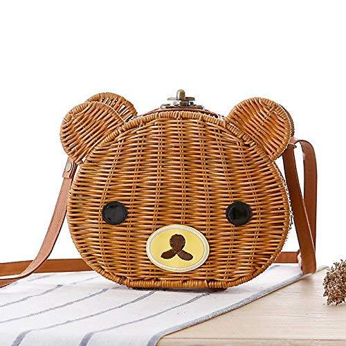 AHIMITSU Tote Handgemachte Schulter Messenger Bag Stroh Tasche Neue Rattan Bär Tasche für Frauen (Farbe : Yellow Camel) -