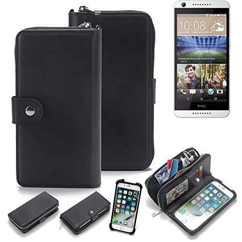K-S-Trade 2in1 Handyhülle für HTC Desire 620G Dual SIM Schutzhülle & Portemonnee Schutzhülle Tasche Handytasche Case Etui Geldbörse Wallet Bookstyle Hülle schwarz (1x)