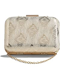 Women Party Clutch Purse Glitter Evening Bag Hard Case Handbag With Chain Strap (Gold, Beige) By Nothing But Love