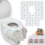 HBselect 30 Pezzi Copriwater Monouso Antibatterico per Bambini e Adulti 65 x 60 cm Coprisedili Igienico USA e Getta Copri Gabinetto Toilette Impermeabile Portatile WC Cover (Motivo a Stelle)
