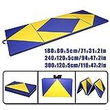CCLIFE Tragbar Faltbar Gymnastikmatte Weichbodenmatte Yogamatte Turnmatte Fitnessmatte Klappmatte Klappbar 300x120x5 / 240x120x5 / 180x80x5 cm Gelb + Blau Großauswahl, Größe:300x120x5cm