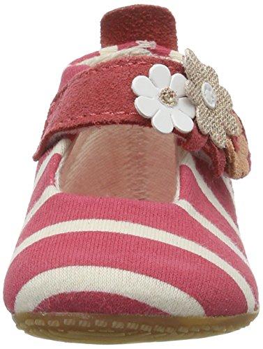 Living Kitzbühel Baby Mädchen Ballerina Streifen Weiß mit Blumen Krabbel-& Hausschuhe Pink (Flamingo)