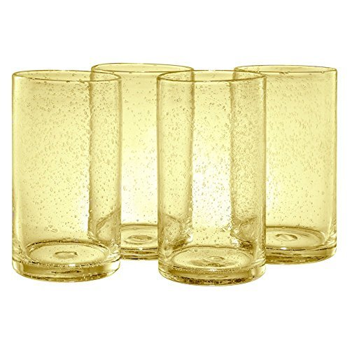 Artland Iris Highball Glasses, Citrine, Set of 4 by Artland Iris Highball