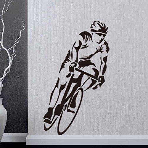 Athlet Fahrradrennen Wandaufkleber Schwarz 57X100cm
