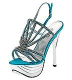 Shayenne Damen Knöchelriemchen Sandalette Sandalen Strass Stiletto High Heels Pumps Schuhe Plateau (40, Blau)
