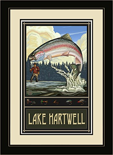Northwest Art Mall rtff Lake Hartwell-South Carolina Rainbow Trout Fly Fisherman gerahmtes Wandbild Art von Künstler Paul A. lanquist, 40,6x 55,9cm
