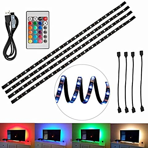 TV Hintergrundbeleuchtung,5050 SMD LED heller Streifen, mehrfarbiges RGB 4x50cm USB LED Streifen-Licht mit DC 5V USB-Hafen und IR-Fernsteuerungs für Fernsehapparat Computer-Schreibtisch-Laptop-Hintergrund-dekorative Beleuchtung