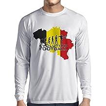 Camiseta de Manga Larga para Hombre Evolution Football - Bélgica, La Bandera Belga