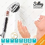 [Nouveau 2017] Silley® Power Eco Shower Original ★ Pommeau de douche avec Billes pour capturer les électrons - 7 JETS : Standard / Turbo / SPA / Soft / Normal / Massage / Spray + fonction STOP - Douchette Universelle de Qualité Facile d'Installation - Tête de Douche Economique - Boîte idéal cadeau
