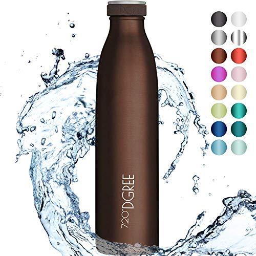 """720°DGREE Edelstahl Trinkflasche \""""milkyBottle\"""" - 750ml - BPA-Frei, Auslaufsicher, Kohlensäure geeignet - Thermosflasche für Sprudel, Sport, Uni, Schule, Fitness, Outdoor, Camping"""