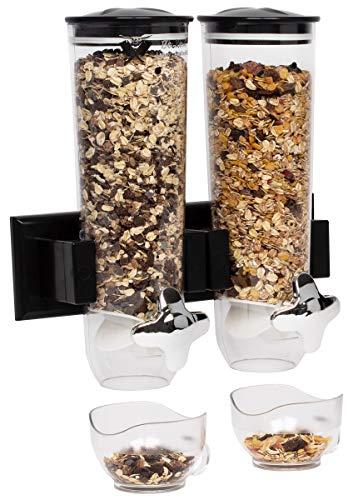 Beeketal \'FSB-5\' Doppel Müslispender Wand mit 2 x 1,5 Liter Volumen, Drehknopf zum Portionieren, Behälter herausnehmbar, Spender zur Wandmontage, ideal für Müsli, Cerealien, Cornfkales, Nüsse uvm.