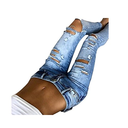 VENMO Frau Lässige Slim Fit Denim Skinny Mid Taille Jeans Lange Hosen Jeans Slim Hose Tech Mesh Sport Leggings Yoga Pants schwarz Damen Jeans mit hoher Taille Stretch Dünn Skinny Hose (L, Blue) (Schwarze Skinny Jeans Größe 12)