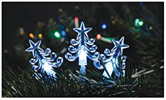 Snow White Indoor Static 40 Christmas Tree Shaped Lights, Clear White