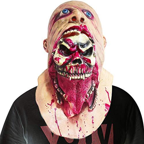 YLJYJ Halloween Maske, Latex Scary Totenkopf Maske für Halloween Kostüm Party Horror Zombie Kopf Maske für Männer und Frauen