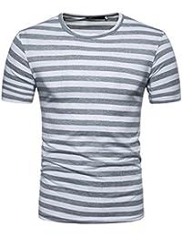 41cd7aeafe Amlaiworld Camiseta de hombre originales Camisa de manga corta para hombres  Camiseta de rayas