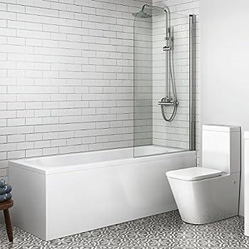. 1700 mm Single Ended Bath Modern Straight Bathtub   800mm Shower Screen  BL120