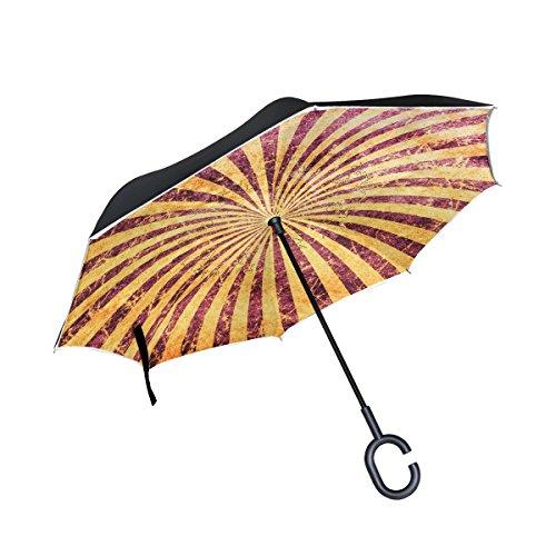 TIZORAX Grunge Spirale seitenverkehrt Double Layer gerade Regenschirme Inside Out wendbar...