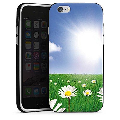 Apple iPhone 4 Housse Étui Silicone Coque Protection Pâquerette Prairie de fleurs Soleil Housse en silicone noir / blanc