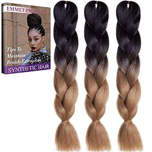 Qualität 100% Kanekalon Braiding Haarverlängerung Full Bundles 100g / pc Synthetik Haar Ombre 24Inch 3Pcs / lot Hitzebeständig, lange Zeit mit-37 Farben 2Tone & 3Tone, Garantie 1 Woche ändern oder Rückerstattung (Einfach Weibliche Kostüme)