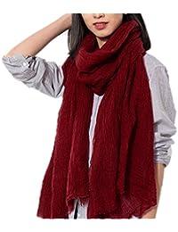 Prettystern - 220cm langer Schal XXL aus 100 % Wolle viel Volumen leicht gecrashte Optik - Farbauswahl